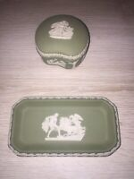 Vintage Wedgewood Sage Green Pegasus Trinket Dish and Trinket Box Set
