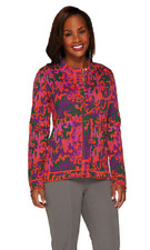 Isaac Mizrahi Live! Abstract Animal Jacquard Zip Cardigan, Size M, MSRP $73