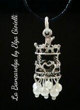 Ciondolo giostra carosello argentata con perline bianche Carousel horse necklace