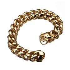 """Bangle Curb Chain 18K Gold Tone 8.66"""" 15mm Heavy Mens Stainless Steel Bracelet"""
