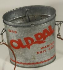 Vintage Old Pal Woodstream Wading Bait Can Fishing with Strap and Insert