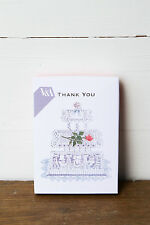 V&A Thank You Card Set 10 Silver Foiled Textured Cards Envelopes Blank Wedding