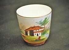 Old Vintage Porcelain Demitasse Cup European Farm Scene Gold Trim & Hand Painted