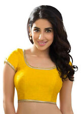 Yellow Polyester Raw Silk Dupion Casual Blouse Top Choli Wedding Saree Indian NW