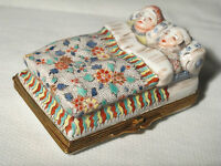 Antique Hand Painted Porcelain Trinket Box w/ Brass Couple in Bed-Elegant Colors
