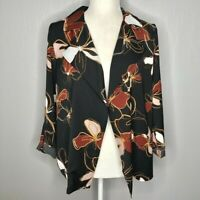 NWT 14th & Union Black Desert Floral Flyaway Trapeze Jacket Women's Size Small