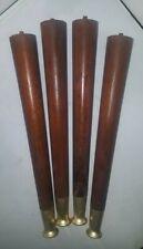 Set of 4 Atomic Tapered TABLE LEGS Mid Century Modern Vintage WOOD Brass Tips