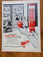 1954 Dixie Cup Dispenser Ad  Family Swimming Theme