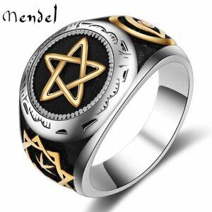 MENDEL Mens Stainless Steel Illuminati Satanic Pagan Pentagram Ring Size 7-15