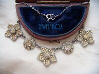 ANTIQUE ART DECO PASTE ENCRUSTED FLOWER PANEL VINTAGE NECKLACE Bridgerton Style