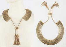 GOLD CRYSTAL EGYPTIAN REVIVAL CLEOPATRA COLLAR STATEMENT NECKLACE ROPE CHAIN