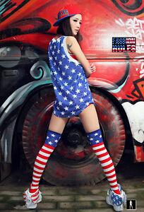 USA Flag Striped Girls Womens Long Over Knee Thigh High Socks Stocking Leggingsc
