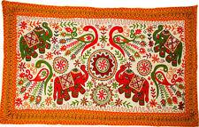 "36""x60"" Indian Tapestry Elephant Wool Suzani Embroidery Handmade Wall Hanging UK"