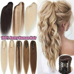Thick Real Claw Ponytail Clip In 100% Remy Human Hair Extensions Pony Tail Piece