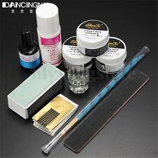 Nail Art Acrylic Powder Kit Brush Pen File Liquid Gel Forms Buffer Primer Set