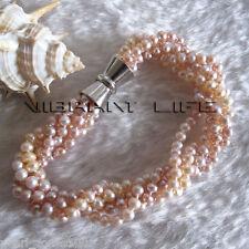 "5Row Freshwater Pearl Bracelet Jewelry 8"" 3.5-4.5mm Peach Pink Lavender"