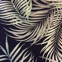 HTP023 Tropical Black Palm Leaves Floral 100% Cotton Dobby Home Decor Fabric