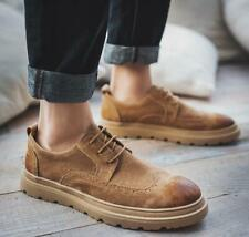 Spring Men's Suede Wing Tip Round Toe Lace up Carved Brogue Shoes Increase Shoes