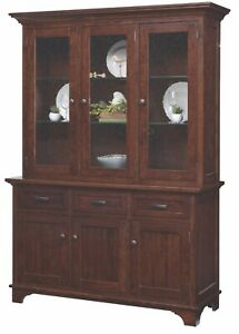 Custom USA Hand Made | Arlington | Solid Hard Wood | CHINA HUTCH | Cabinet