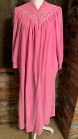 Robe Housecoat Zip Front Fleece Vintage Vanity Fair Petite 1980's Woman's L Pink