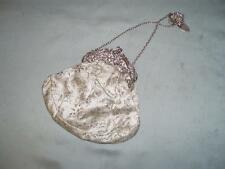 ANTIQUE LADIES HALLMARKED SILVER SILK CHATELAINE CLUTCH BAG.