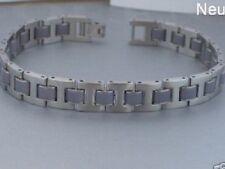 Edelstahl Armband Armketten Gliederarmband Kautschuk grau Silber Herren Männer