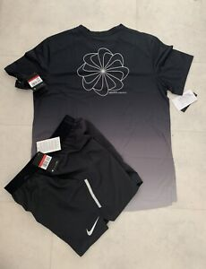 NEW Mens Nike Miler Printed T-Shirt Flex  Short SET Running Gym Holiday Sport L
