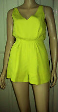 Topshop Yellow Green Black Tailored Lace Back Panel Playsuit Size 6