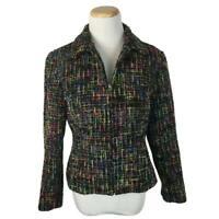 Coldwater Creek Women's Black Full Zip Multicolored Jacket Blazer Size P8