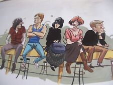 Breakfast club 30x12 inch oil painting, Harry Sally, Molly, Reiner