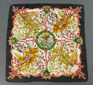 #242 Rare Vintage Silk GUCCI Scarf Hand Rolled V. Acornero Fall Leaves - As Is