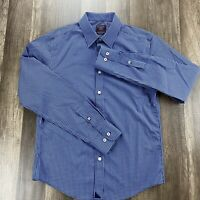 NWOT UNTUCKit Small Slim Fit Dress Shirt Blue Checkered Two PLY Cotton Italy