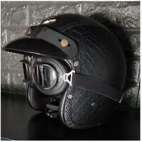 Leather Motorcycle Helmet Open Face Half 3/4 w/Goggles Scooter Cruiser Bike L