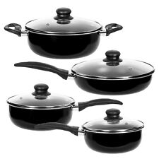 Healthy Cookware Set - 8 pcs Ceramic Sauce Pan Fry Pan Pot Set Black
