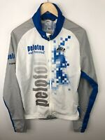 Louis Garneau Peloton Full Zip Jacket Cycling Rear Pockets Blue White