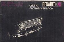 RENAULT 4 SALOON & VAN ORIGINAL 1969 OWNERS INSTRUCTION & MAINTENANCE HANDBOOK
