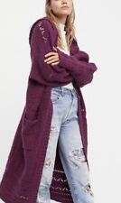 NEW FREE PEOPLE M SAND DOLLAR OVERSIZED TEXTURED MAXI CARDI DUSTER SWEATER COAT