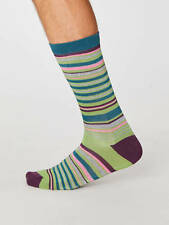 Thought Bamboo Multi Green Striped Socks Anti-Bacterial One Size 7-11 Ethical