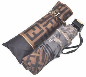 Authentic FENDI Zucca Folding Umbrella Brown D0390