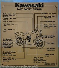 KAWASAKI GPZ900R DAILY SAFETY CHECKS CAUTION WARNING DECAL