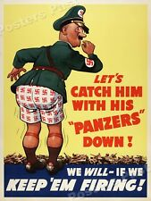 1943 Catch Him With His Panzers Down! Vintage Style WW2 Poster - 24x32