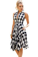 New Ladies Black Grey& White Check Shirt Dress Casual/Day/Club Size UK 12-14