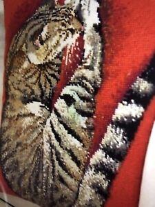 By  EHRMAN Cushion Tapestry Kit. Naxos Cat (Red)  By Elian McCready