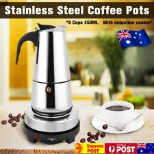 AU 9 Cups 450ml Stainless Steel Moka Coffee Maker Pot Percolator +Electric Stove