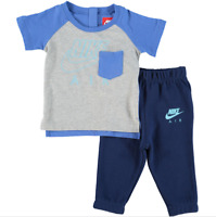 Nike Air Infant Tracksuit Baby Children Full Set Kids T-Shirt Trousers Grey Blue