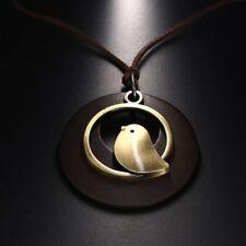 Fashion Women Bird Wooden Bead Pendant Vintage Long Necklace Velvet Chain
