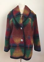 Vintage JOFELD Wool Blend Southwestern Indian Blanket Coat Womens  M Aztec