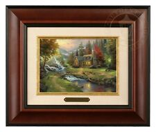 Thomas Kinkade Mountain Paradise - Brushwork (Burl Frame)