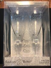 "Lillian & Rose Wedding Champagne Flutes Glasses Bride & Groom 8.5"" Tall"