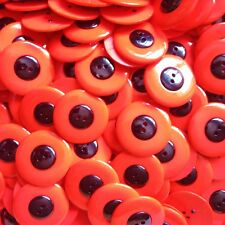 25 GLOSSY BLACK & RED POPPY CRAFT BUTTONS 31mm
